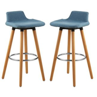 An Image of Porrima Blue Fabric Seat Bar Stools In Pair