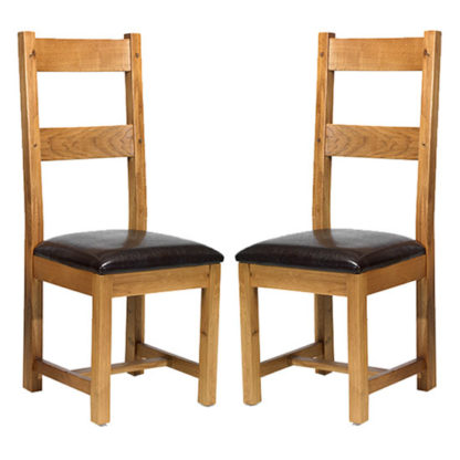 An Image of Velum Black Leather Dining Chair In A Pair With Wooden Frame