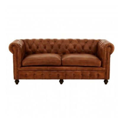 An Image of Buffaloes 3 Seater Leather Sofa In Brown