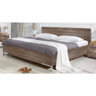 An Image of Mantova 180x200cm Wooden Bed In Muddy Oak Effect