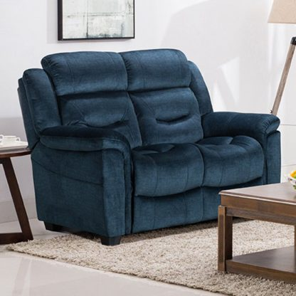An Image of Dudley Fabric Upholstered Fixed 2 Seater Sofa In Nett Blue