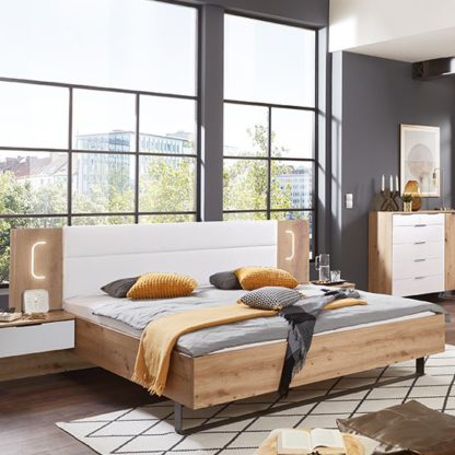 An Image of Shanghai Wooden Double Bed In Artisan Oak And White