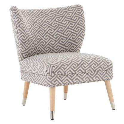 An Image of Regelo Park Wingback Fabric Bedroom Chair In Greek Key Print
