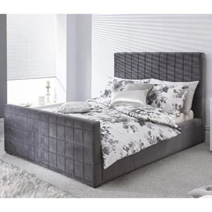 An Image of Delaware Ottoman Wooden Double Bed In Pewter