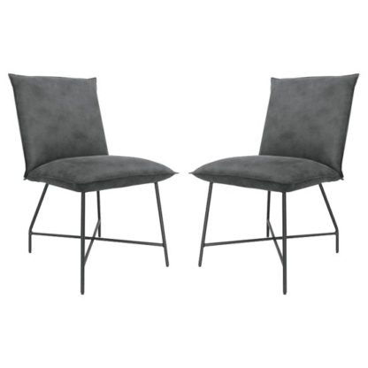 An Image of Lukas Grey Fabric Upholstered Dining Chairs In Pair