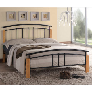 An Image of Tetron Metal Double Bed In Black With Beech Wooden Posts