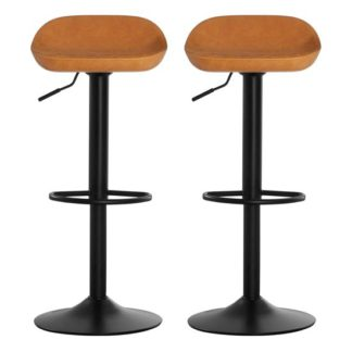 An Image of Kekoun Orange Faux Leather Bar Stools In Pair