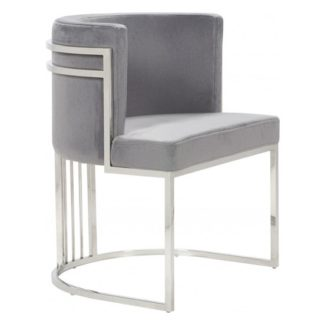 An Image of Casoli Velvet Dining Chair In Grey With Silver Legs