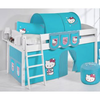 An Image of Lilla Children Bed In White With Kitty Turquoise Curtains
