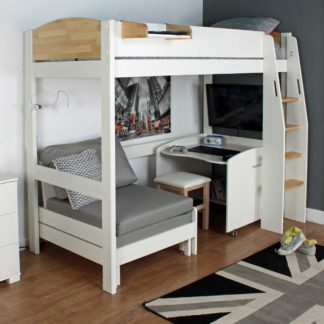 An Image of Urban Birch Childrens Highsleeper Bed with Desk and Futon