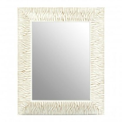 An Image of Zelman Wall Bedroom Mirror In Antique White Brushed Gold Frame