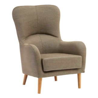 An Image of Giausar Fabric Upholstered Armchair In Mink