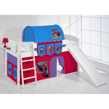 An Image of Lilla Slide Children Bed In White With Spiderman Curtains