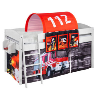 An Image of Lilla Children Bed In White With Fire Department Curtains