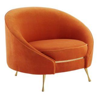 An Image of Intercrus Velvet Upholstered Armchair In Orange