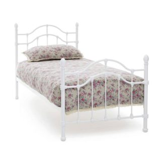 An Image of Paris Metal Single Bed In White Gloss