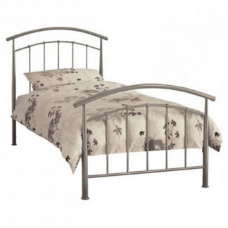 An Image of Mercury Metal Single Bed In Pearl Silver