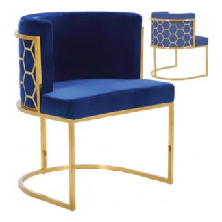 An Image of Meta Blue Velvet Dining Chairs In Pair With Gold Legs