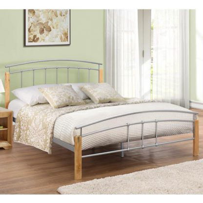 An Image of Tetras Steel Double Bed In Beech And Silver