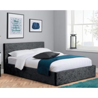 An Image of Berlin Fabric Ottoman Small Double Bed In Black Crushed Velvet