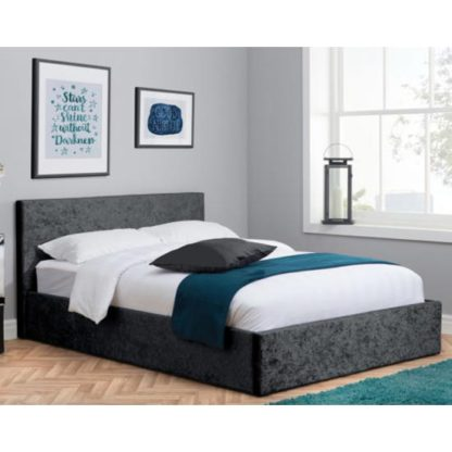 An Image of Berlin Fabric Ottoman Double Bed In Black Crushed Velvet