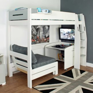 An Image of Urban Grey Childrens Highsleeper Bed with Desk and Futon