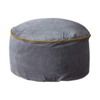 An Image of Arabella Velvet Upholstered Pouffe In Grey