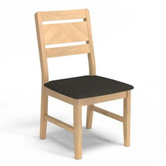 An Image of Carnial Grey Fabric Upholstered Dining Chair With Wooden Frame