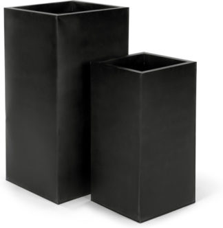 An Image of Razan Set Of Two Tall Galvanized Square Planters, Black
