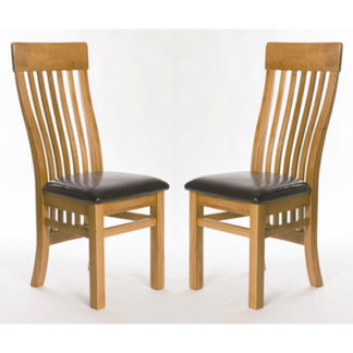 An Image of Hampshire Oak Slat Back Dining Chairs In A Pair
