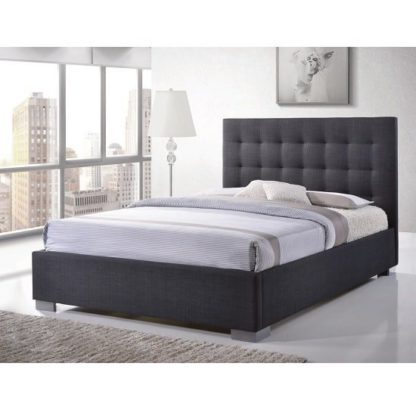 An Image of Addison Fabric Double Bed In Grey With Chrome Feet