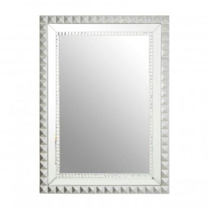 An Image of Tariku Rectangular Wall Bedroom Mirror In Silver Frame
