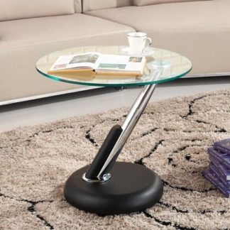 An Image of Tokyo Clear Glass Top Lamp Table In Black