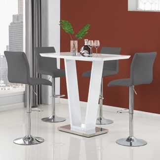 An Image of Ilko High Gloss Bar Table In White With 4 Ripple Grey Stools