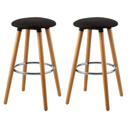 An Image of Porrima Black Fabric Round Seat Bar Stools In Pair