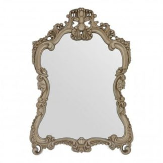 An Image of Salma Baroque Design Wall Bedroom Mirror In Luxurious Gold Frame