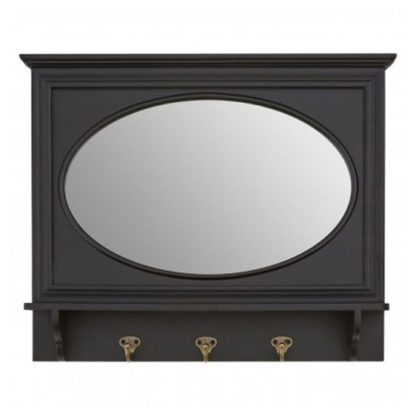 An Image of Whitely Wall Bedroom Mirror In Matte Black Frame