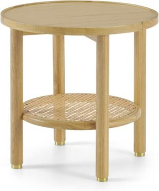 An Image of Ankhara Side Table, Natural Oak & Rattan