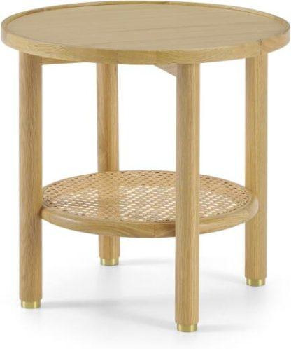 An Image of Ankhara Side Table, Natural Oak & Rattan