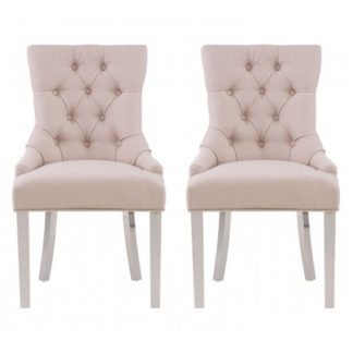 An Image of Mintaka Natural Velvet Upholstered Dining Chairs In Pair