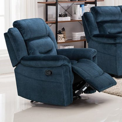 An Image of Dudley Fabric Upholstered Recliner Chair In Nett Blue