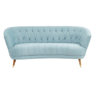 An Image of Hensley Velour Fabric 3 Seater Sofa In Blue With Oak Legs