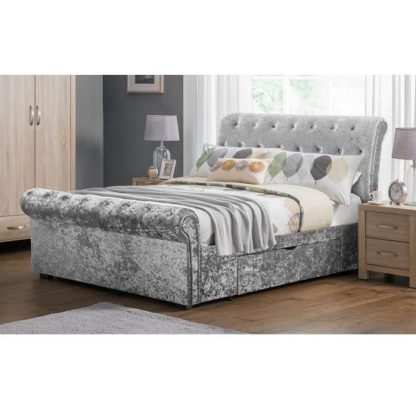 An Image of Agata Double Bed In Silver Crushed Velvet With 2 Drawers