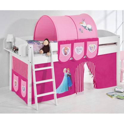 An Image of Lilla Children Bed In White With Frozen Pink Curtains