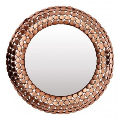 An Image of Templars Pebble Effect Wall Bedroom Mirror In Copper Frame