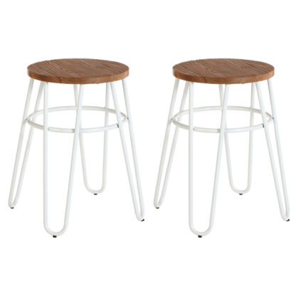 An Image of Pherkad Wooden Hairpin Stools With White Metal Legs In Pair