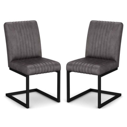 An Image of Veto Grey PU Leather Dining Chairs In A Pair With Metal Frame