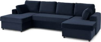 An Image of Aidian Large Corner Sofa Bed with Storage, Regal Blue Velvet