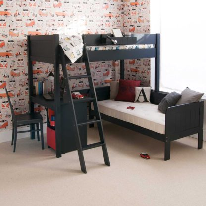 An Image of Pippin Childrens Highsleeper with Sofabed And Storage Desk