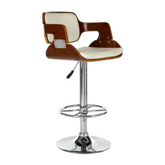 An Image of Savial Faux Leather Seat Bar Stool In White And Walnut